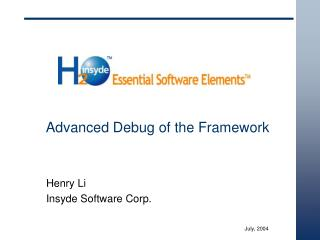 Advanced Debug of the Framework