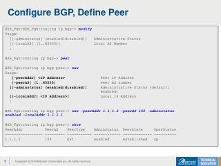 Configure BGP, Define Peer