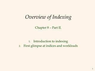 Overview of Indexing
