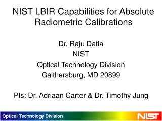 NIST LBIR Capabilities for Absolute Radiometric Calibrations