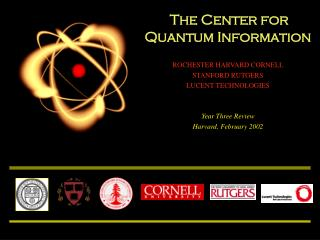 The Center for  Quantum Information ROCHESTER HARVARD CORNELL  STANFORD RUTGERS