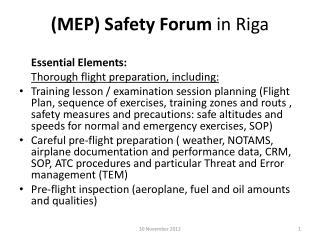 (MEP) Safety Forum  in Riga