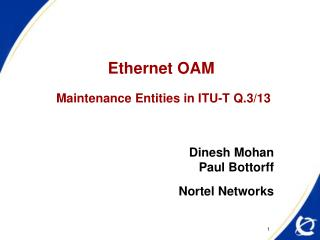 Ethernet OAM Maintenance Entities in ITU-T Q.3/13