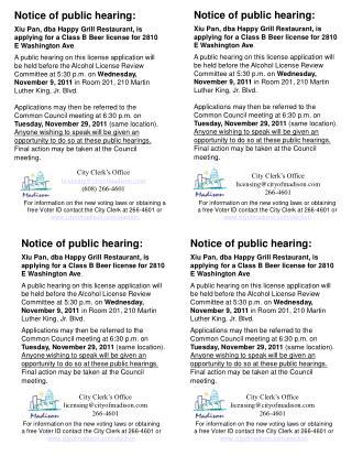 Notice of public hearing: