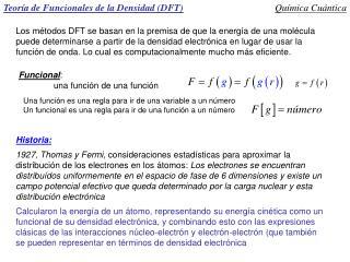 Teoría de Funcionales de la Densidad (DFT)