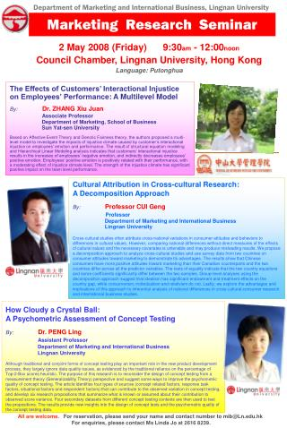 Cultural Attribution in Cross-cultural Research: A Decomposition Approach By: Professor CUI Geng