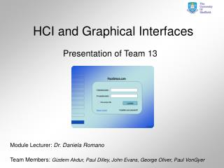 HCI and Graphical Interfaces