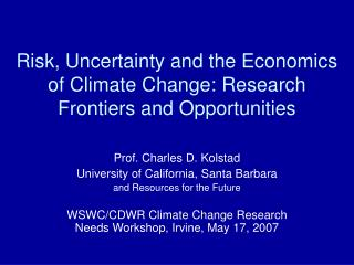 Risk, Uncertainty and the Economics of Climate Change: Research Frontiers and Opportunities