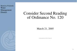 Consider Second Reading of Ordinance No. 120