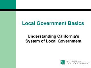 Local Government Basics
