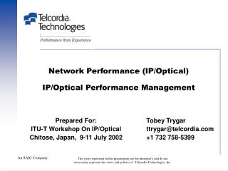 Network Performance (IP/Optical) IP/Optical Performance Management