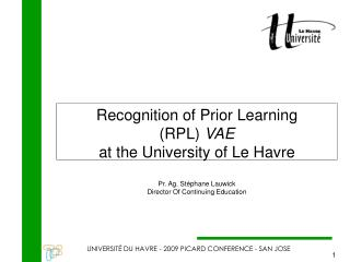 Recognition of Prior Learning (RPL)  VAE at the University of Le Havre