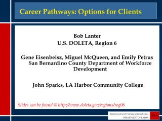 Career Pathways: Options for Clients