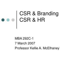 CSR & Branding CSR & HR