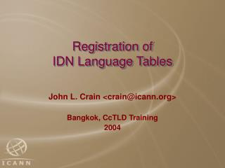 Registration of IDN Language Tables