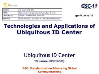 Technologies and Applications of  Ubiquitous ID Center