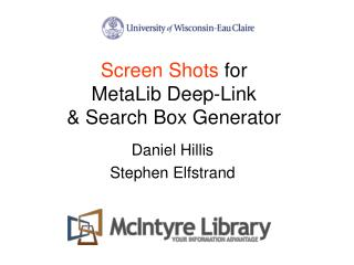 Screen Shots  for  MetaLib Deep-Link  & Search Box Generator
