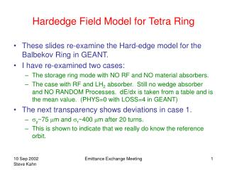 Hardedge Field Model for Tetra Ring