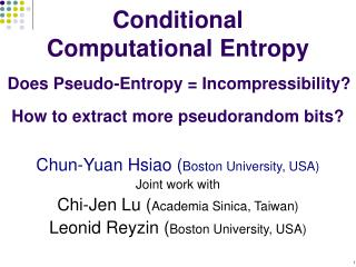 Conditional Computational Entropy