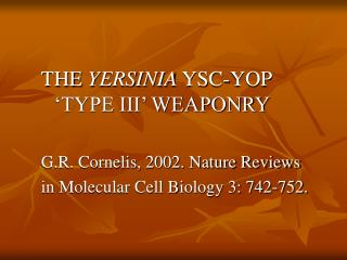 THE  YERSINIA  YSC-YOP 'TYPE III' WEAPONRY G.R. Cornelis, 2002. Nature Reviews