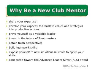 Why Be a New Club Mentor