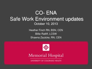 CO- ENA  Safe Work Environment updates October 10, 2013
