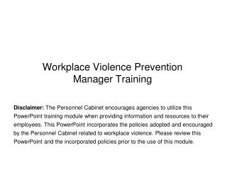 Workplace Violence Prevention  Manager Training
