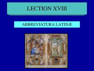 LECTION XVIII