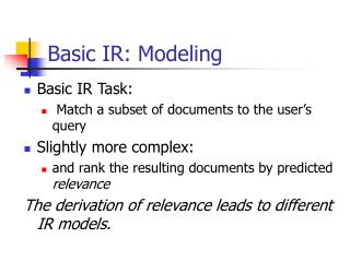 Basic IR: Modeling