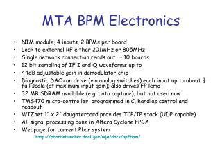 MTA BPM Electronics