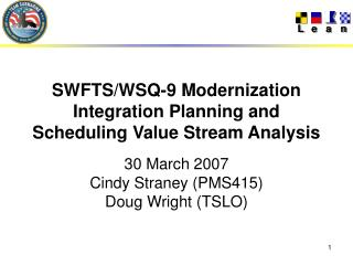 SWFTS/WSQ-9 Modernization Integration Planning and Scheduling Value Stream Analysis