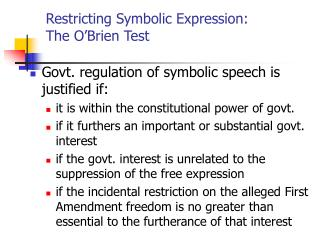 Restricting Symbolic Expression:  The O�Brien Test