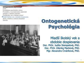 Ontogenetick� Psychol�gia