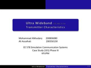 Ultra Wideband  IEEE 802.15.4a Transmitter Characteristics