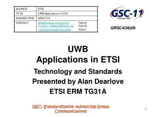 UWB  Applications in ETSI
