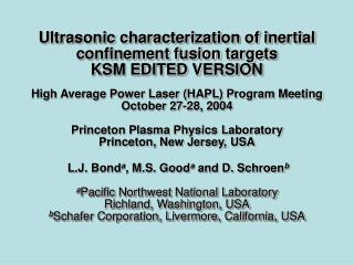 Target Characterization Requirements