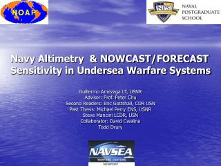 Navy Altimetry  & NOWCAST/FORECAST Sensitivity in Undersea Warfare Systems