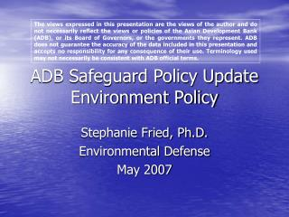 ADB Safeguard Policy Update Environment Policy