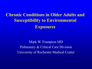 Chronic Conditions in Older Adults and Susceptibility to Environmental Exposures