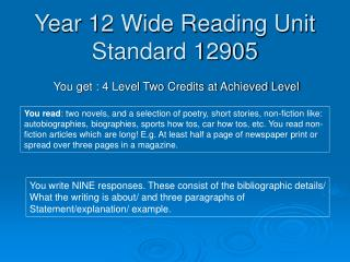 Year 12 Wide Reading Unit Standard 12905