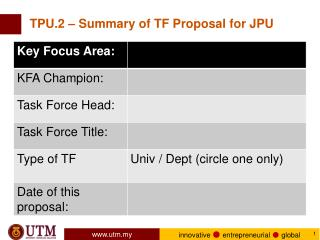 TPU.2 – Summary of TF Proposal for JPU