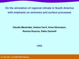 On the simulation of regional climate in South America