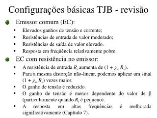 Configurações básicas TJB - revisão