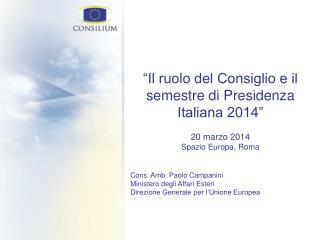 """""""Il ruolo del Consiglio e il semestre di Presidenza Italiana 2014"""" 20 marzo 2014"""
