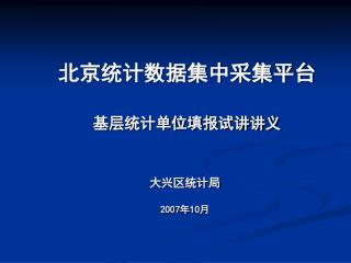 北京统计数据集中采集平台 基层统计单位填报试讲讲义