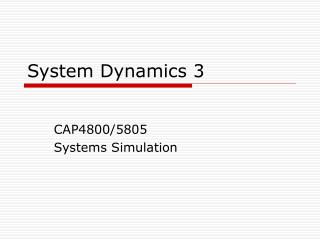 System Dynamics 3