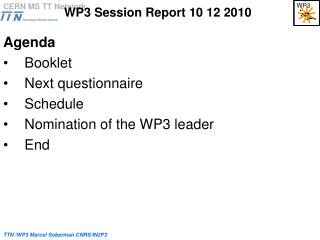 WP3 Session Report 10 12 2010