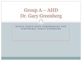 Group A – AHD  Dr. Gary Greenberg