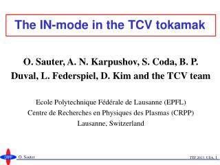 The IN-mode in the TCV tokamak