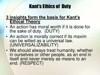 Kant s Ethics of  Duty